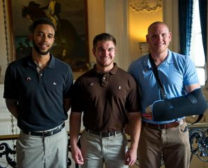 From left, Anthony Sadler, Oregon Army National Guardsman Spc. Aleksander Skarlatos and Air Force Airman 1st Class Spencer Stone pose for a photo in Paris Aug. 23, following a foiled attack on a French train. The three friends were on vacation when a gunman entered their train carrying an AK-style machine gun, a handgun and a box cutter. They subdued the gunman as his guns malfunctioned. Skarlatos is a member of St. Paul Lutheran Church, Roseburg, Ore. (U.S. Air Force courtesy photo/Tech. Sgt. Ryan Crane)