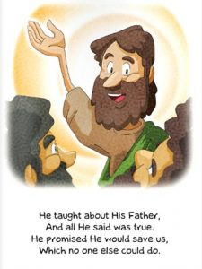 A sample page from Do You Know Who Jesus Is?, a new, pocket-sized booklet for children from Lutheran Hour Ministries.