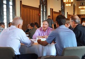 Participants at the 2015 National Stewardship Training Seminar discuss the morning's presentations during lunch July 29. (LCMS/Megan K. Mertz)