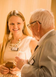 """LCMS Young Ambassador Bethany Glock talks with Washington veteran Bill Hecht of Hecht, Spencer and Associates during a """"Let's Talk Life, Marriage and Religious Liberty"""" event Sept. 8 at the Capitol Hill Club in Washington, D.C. (LCMS/Erik M. Lunsford)"""