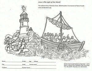 """The official coloring page for the Petal Pushers® coloring contest depicts the 2016 Lutheran Hour Ministries float and its theme, """"Jesus is the Light of the World."""""""