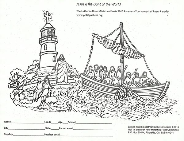 Students teachers can win prizes in coloring contest for Jesus is the light of the world coloring page