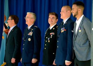 """The """"Heroes of the Rails"""" stand with, from left, Secretary of Defense Ash Carter and Gen. Paul J. Selva, the Joint Chiefs of Staff vice-chairman, during a Sept. 17 ceremony at the Pentagon in Washington, D.C., to honor the three men for their heroic actions. The three honored are, from center to right, Oregon Army National Guardsman Spc. Alek Skarlatos, Air Force Airman 1st Class Spencer Stone and Anthony Sadler. (U.S. Air Force photo/Scott Ash)"""