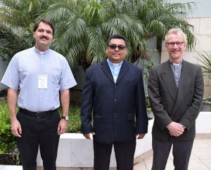 Leaders of the three churches accepted into International Lutheran Council membership during the council's Sept. 24-27 World Conference in Buenos Aires, Argentina, are, from left, Bishop Vsevolod Lytkin of the Siberian Evangelical Lutheran Church, President Marvin Donaire of the Lutheran Church Synod of Nicaragua and Acting Bishop Torkild Masvie of the Lutheran Church in Norway. (ILC/Mathew Block)