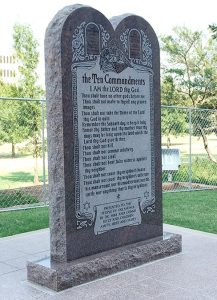 An Oklahoma commission voted Sept. 29 to remove the privately funded granite monument of the Ten Commandments from the state Capitol grounds, after a judge ordered its removal by Oct. 12. (Religion News Service/Greg Horton)