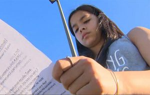 Jordan Wooley, a seventh-grade student in Katy, Texas, said an assignment questioned her faith when her teacher told her God wasn't real. (Courtesy of KHOU-TV, Houston, via USA Today)