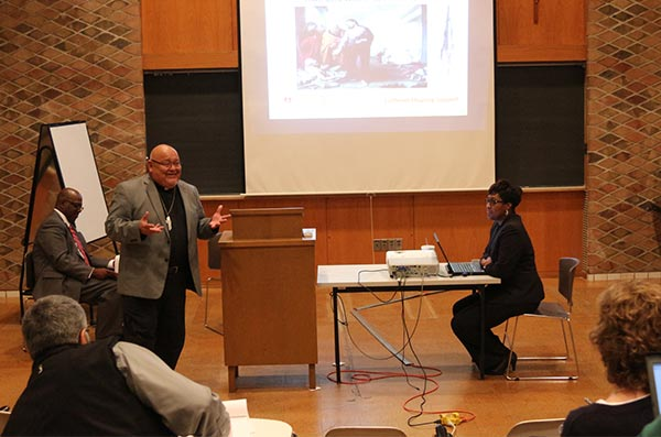From left, Fred Kimbrough, the Rev. Carlos Hernandez and Nicole Ridley explain how Lutheran Housing Support partners with congregations to meet the needs of their communities and create opportunities to share the Gospel. (Jayne Sheafer/Concordia Theological Seminary)