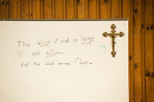 A whiteboard is prepared for Bible class on Thursday, Oct. 8, 2015, at Holy Cross Lutheran Church in Columbia, S.C. LCMS Communications/Erik M. Lunsford