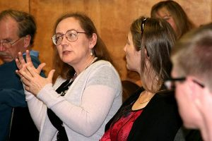 Dr. Donna Harrison explains medical technicalities during a question-and-answer session at the symposium. (Jeanine Tietz)