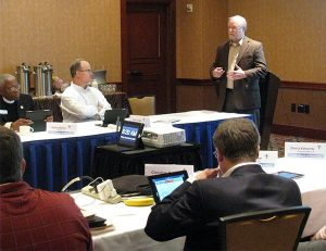 The Rev. John Fale, executive director of the Synod's Office of International Mission, gives a presentation on that office's work during the Nov. 19-20 LCMS Board of Directors meeting in Atlanta. (LCMS/Joe Isenhower Jr.)