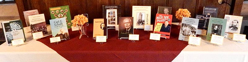 A display of the 2014 publications honored at the Concordia Historical Institute awards banquet, Nov. 12 at Concordia Seminary, St. Louis. (Todd Zittlow/Concordia Historical Institute)