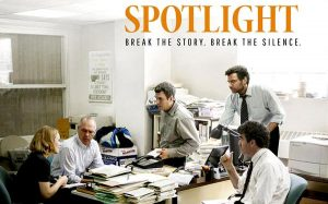 """""""Spotlight"""" tells the true story of how an investigative team of reporters exposes the Catholic Church's decades-long cover-up of child abuse by priests in Boston. It is """"a movie of substance that is worth watching, even if it's painful,"""" writes reviewer Ted Giese."""