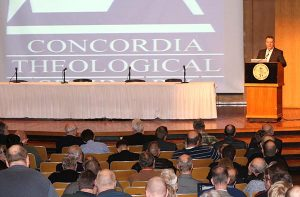 Concordia Theological Seminary, Fort Wayne, Ind., President Rev. Dr. Lawrence R. Rast Jr. welcomes attendees to the 2015 Symposia Series. This year's symposia, Jan. 19-22, will focus on the Reformation. (Concordia Theological Seminary/Jayne E. Sheafer)