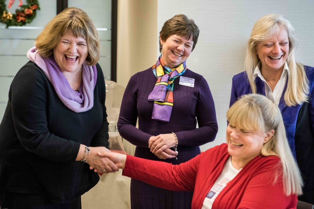 From left, Sheila Lutz, writer for Lutheran Woman's Quarterly, and Shelley Moeller, LWML vice-president of Gospel Outreach, meet Barbara Hoffmann and Mary Hamilton, employees of The Lutheran Church–Missouri Synod, at the LCMS International Center on Wednesday, Jan. 6, 2016 jn Kirkwood, Mo. LCMS Communications/Frank Kohn