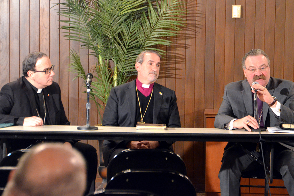 Taking part in the Feb. 8 Faith and Freedom Forum at Concordia Seminary, St. Louis, are, from left, Lutheran Church—Canada President Rev. Dr. Robert Bugbee, Anglican Church in North America Archbishop Rev. Dr. Foley Beach and LCMS President Rev. Dr. Matthew C. Harrison. Each spoke about the respective challenges the three church bodies face as government institutions codify laws that undermine traditional marriage, devalue human life and restrict expression of Christian faith in the public square. (Jackie Parker/Concordia Seminary, St. Louis)