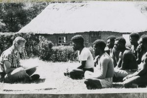 The Rev. Dr. Otto C. Hintze Jr. teaches Enga evangelists as part of his early mission work in Papua New Guinea. Hintze served as a missionary there from 1948 to 1965. (Courtesy of Otto Hintze)