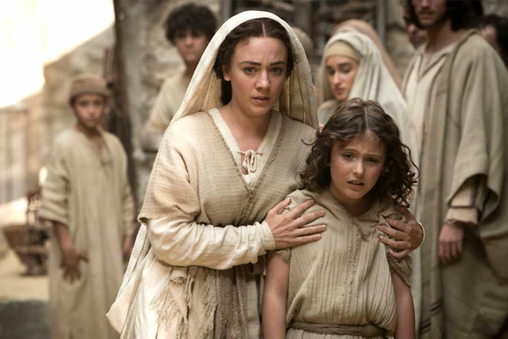 """Although """"The Young Messiah"""" tells the fictionalized story of a 7-year-old Jesus (played by Adam Greaves-Neal, right), it is not a film for children. Sara Lazzaro, left, gives a notable performance as the Virgin Mary, according to reviewer Rev. Ted Giese."""