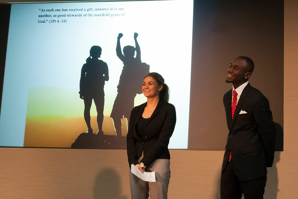 Concordia College—New York, Bronxville, students Jenny Martin and Ovan Oakley make their presentation at Lutheran Church Extension Fund's National Student Marketing Competition, April 15 at the LCMS International Center. Nine Concordia University System schools participated in the fifth annual event. (LCEF/Jay T Garrott)