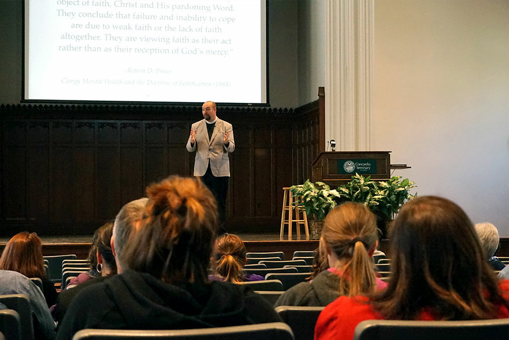 "The Rev. Todd Peperkorn, pastor of Holy Cross Lutheran Church, Rocklin, Calif., provides a theological perspective on mental illness at LCMS Life Ministry's ""The Church and Mental Health"" workshop April 9 at Concordia Seminary, St. Louis. (LCMS/Megan K. Mertz)"