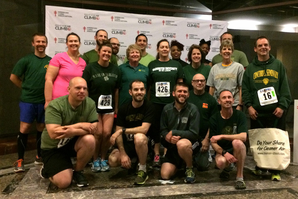 """The Stair Climb Team of Concordia Seminary, St. Louis, poses for a photo during the annual """"Fight For Air Climb"""" April 2 in St. Louis. They were the second-fastest among 150 teams that climbed 40 floors of stairs to raise money for the American Lung Association. (Courtesy of Concordia Seminary)"""