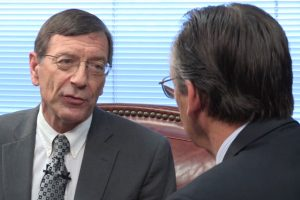 "In this scene from the new video ""Licensed Lay Deacon Task Force Recommendations,"" the Rev. Russell L. Shewmaker, left, chairman of the LCMS Mid-South District's Licensed Lay Deacon Committee, talks with district President Rev. Dr. Roger C. Paavola about the recommendations of the Resolution 4-06A Task Force."