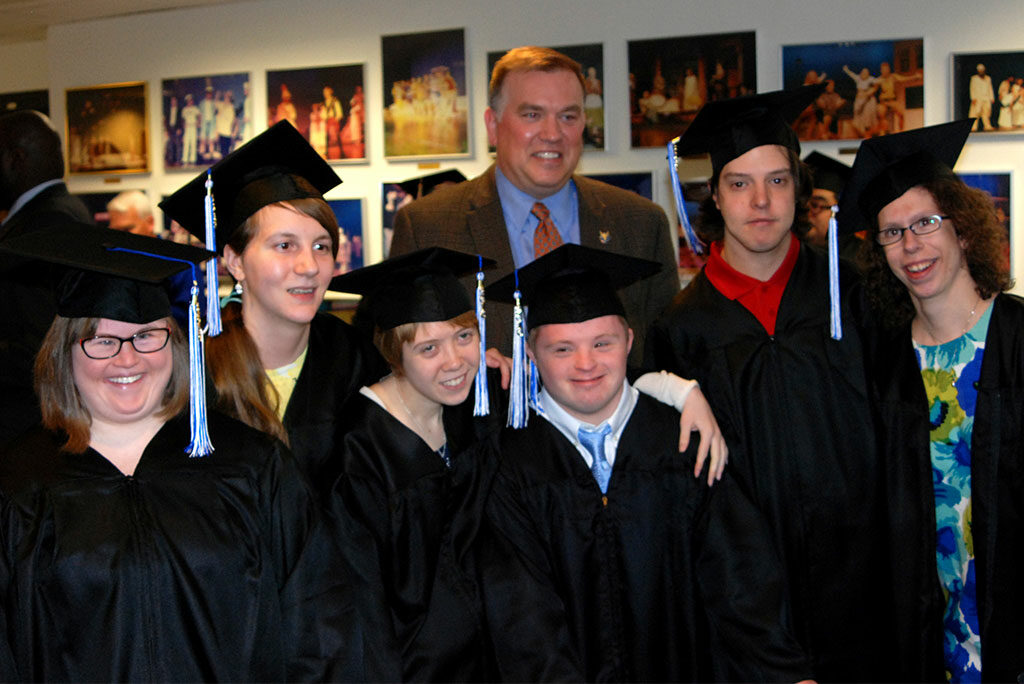 """Mike Thirtle, president and CEO of Bethesda Lutheran Communities (BLC), poses with students in the first graduating class of Bethesda College — a partnership of BLC and Concordia University Wisconsin, Mequon. From left, the students are Mary Cate Neff of River Hills, Wis.; Claire Chalupka of Whitefish Bay, Wis.; Rachel Hoffman of Grafton, Wis.; Alex Shafer of Fox Point, Wis.; and Thomas Scandrett and Kristen Van Handel — both of Mequon. (Not pictured is Bethesda College graduate Christopher Brandt of Milwaukee.) Van Handel said the two-year program taught her """"how to be independent"""" and helped her """"prepare for a job, prepare for the real world."""""""