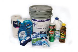 """Supplies that make up a """"flood bucket"""" include paper towels, cleansing powder, liquid cleaner, bleach, rubber gloves and other items. (LCMS/Erik M. Lunsford)"""