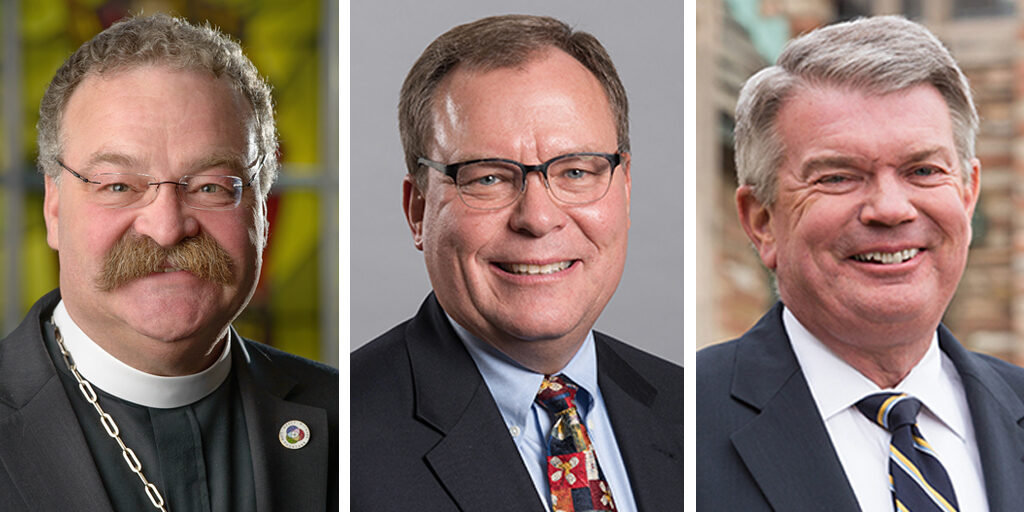 The nominees for LCMS president are, from left, the Rev. Dr. Matthew C. Harrison, the Rev. Dr. David P.E. Maier and the Rev. Dr. Dale A. Mayer.