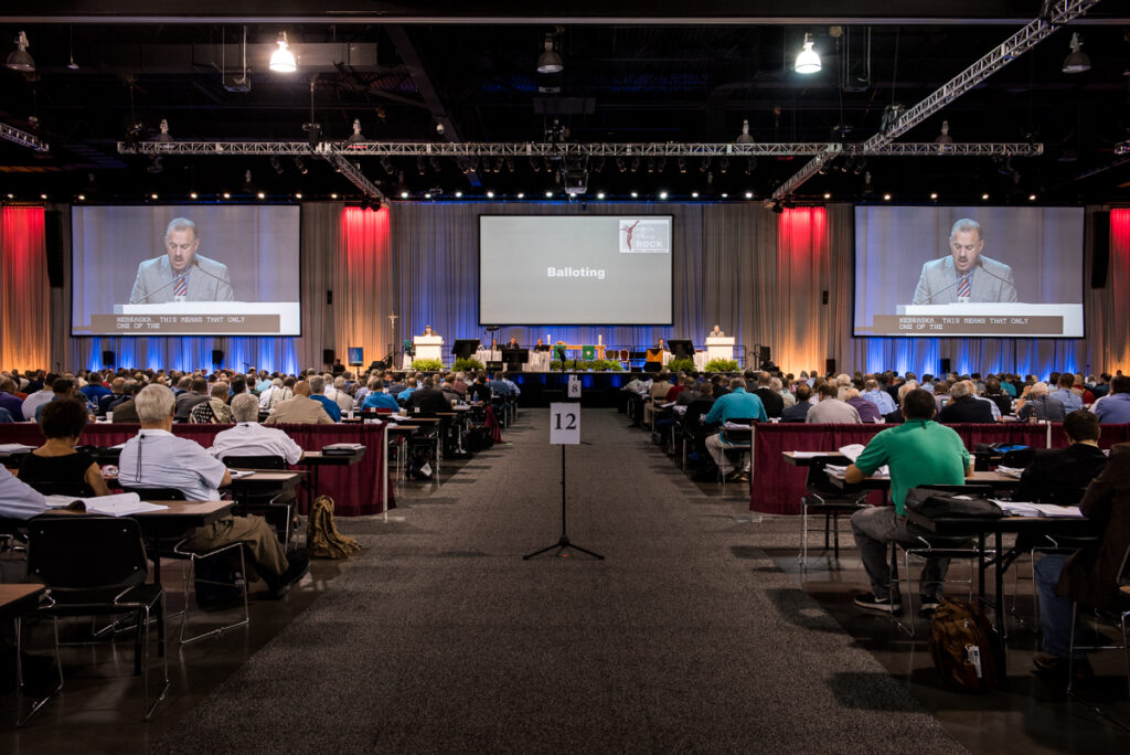 The Rev. Gregory Walton, president of the LCMS Florida-Georgia District, leads the 66th Regular Convention of The Lutheran Church—Missouri Synod in balloting for Synod boards on Wednesday, July 13, at the Wisconsin Center in Milwaukee. (LCMS /Erik M. Lunsford)