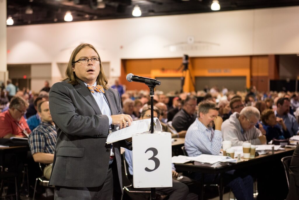 The Rev. Jay Winters, pastoral delegate from Tallahassee, Fla., speaks about a resolution July 13 at the 66th Regular Convention of The Lutheran Church–Missouri Synod, in Milwaukee. (LCMS/Frank Kohn)