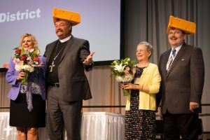 From right, the Rev. Dr. Herbert C. Mueller Jr., his wife, Faith, the Rev. Dr. Matthew C. Harrison and his wife, Kathy, enjoy a light moment July 10 during the 66th Regular Convention of The Lutheran Church–Missouri Synod at the Wisconsin Center in Milwaukee. (LCMS/Frank Kohn)