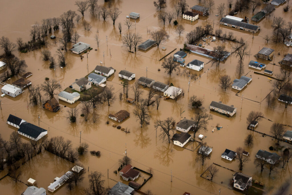 Floodwaters overtake areas surrounding St. Louis on Thursday, Dec. 31, 2015. LCMS Communications/Erik M. Lunsford