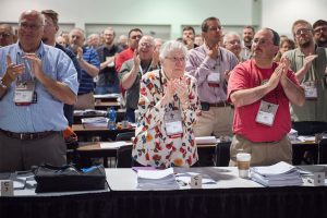 Delegates applaud during the final session at the 66th Regular Convention of The Lutheran Church—Missouri Synod. (LCMS/Frank Kohn)
