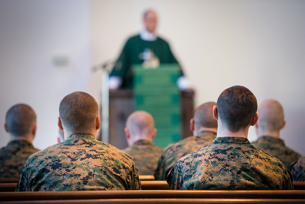 Cmdr. Charles E. Varsogea, chaplain at the U.S. Marine Corps Recruit Depot, preaches during a Divine Service on Feb. 1, 2015, in San Diego, Calif. (LCMS Communications/Erik M. Lunsford)