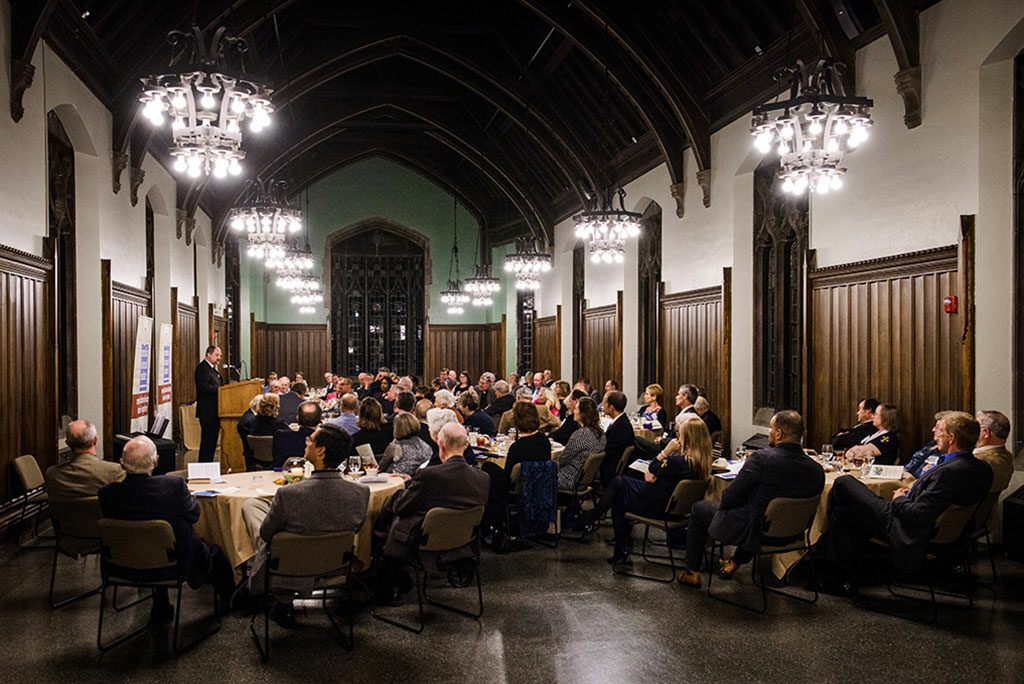 """The Rev. Dr. Daniel Harmelink, Concordia Historical Institute (CHI) executive director, speaks during this year's CHI awards banquet. The institute's Awards Committee presented 17 """"Awards of Commendation"""" for works published in 2015. (LCMS/Erik M. Lunsford)"""