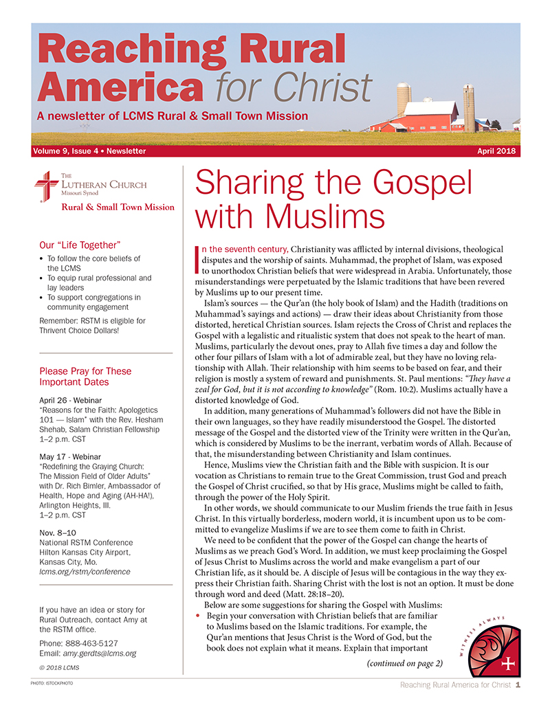 LCMS April 2018 Rural & Small Town Mission (RSTM) Newsletter