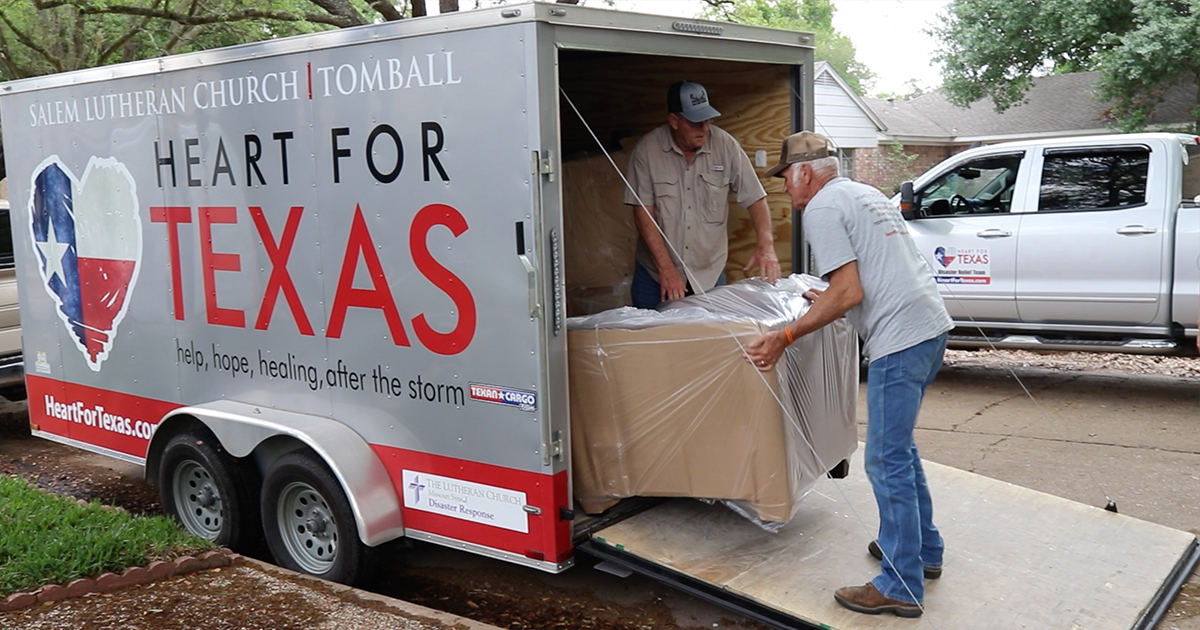 Heart for Texas volunteers unload furniture to help a flooded Houston-area homeowner recover from Hurricane Harvey in 2017. Some 100 families are expected to get new and needed furnishings through the latest relief effort by the Tomball-based coalition of Lutheran partners. (Heart for Texas)