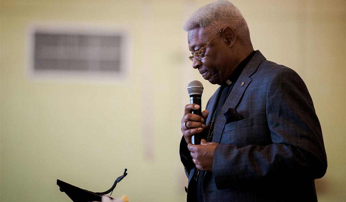 The Rev. Dr. McNair Ramsey, LCMS Southern District 2nd vice-president, speaks on April 27 during the Legacy/Candlelight service at Concordia College Alabama in Selma, Ala. (LCMS/Erik M. Lunsford)