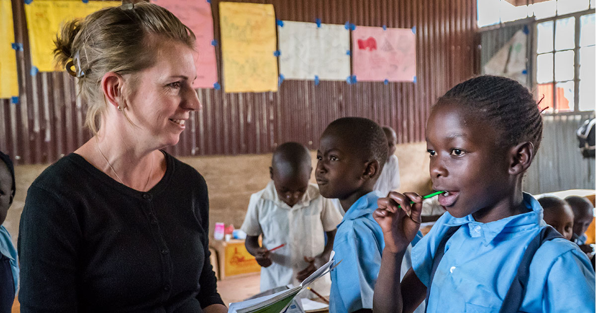 Britt Odemba, LCMS career missionary to Kenya, teaches first-grade students at Karama Academy, a Lutheran school in Kibera, the largest slum in Africa. Odemba, who is an educational consultant at the school, recently celebrated five years serving in Kenya. (Yasser Berenjkoup)