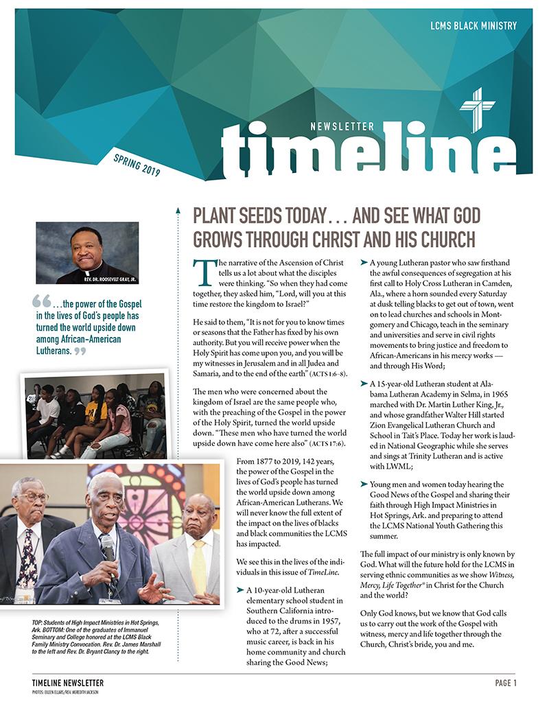 LCMS Black Ministry Spring 2019 TimeLine Newsletter
